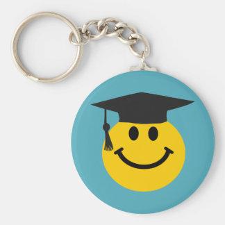 Cara sonriente graduada llaveros
