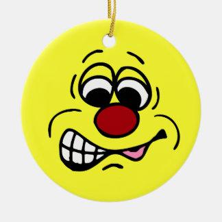Cara sonriente Grumpey del empleado contrariedad Adornos De Navidad