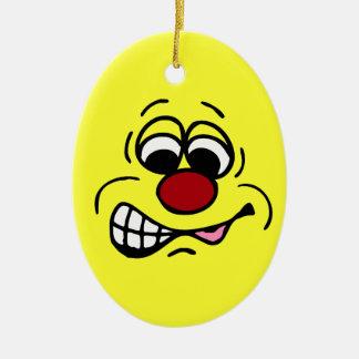 Cara sonriente Grumpey del empleado contrariedad Adorno De Navidad
