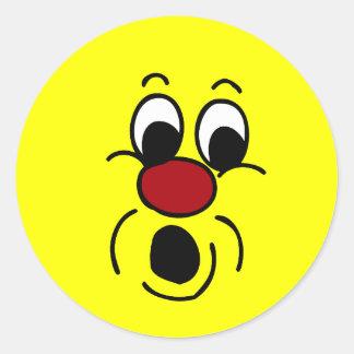 Cara sonriente inocente Grumpey Pegatina Redonda