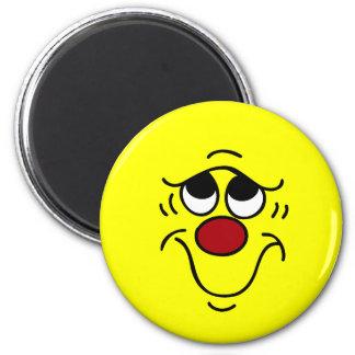 Cara sonriente insegura Grumpey Imán Redondo 5 Cm