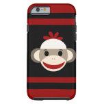Cara sonriente linda del mono del calcetín en funda de iPhone 6 tough