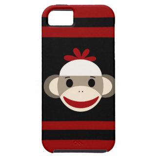 Cara sonriente linda del mono del calcetín en negr iPhone 5 cárcasas