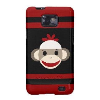 Cara sonriente linda del mono del calcetín en negr galaxy s2 carcasas