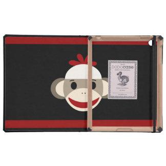 Cara sonriente linda del mono del calcetín en negr iPad fundas