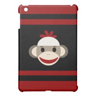 Cara sonriente linda del mono del calcetín en negr iPad mini carcasas