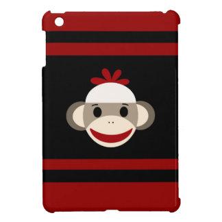 Cara sonriente linda del mono del calcetín en negr iPad mini cobertura