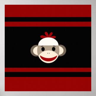 Cara sonriente linda del mono del calcetín en negr póster
