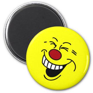 Cara sonriente loca Grumpey Imán Redondo 5 Cm