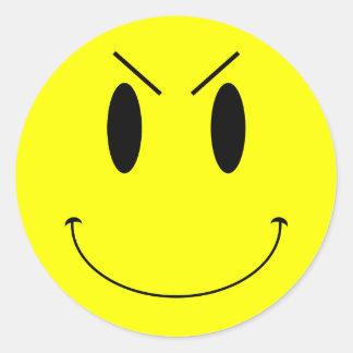 Cara sonriente malvada amarilla del KRW Pegatina