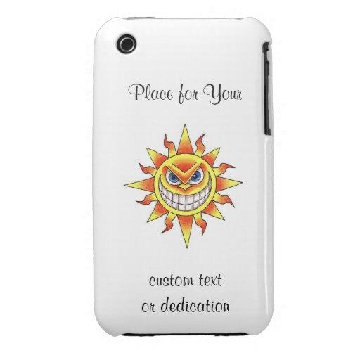 Cara sonriente malvada del SOL del dibujo animado iPhone 3 Carcasa