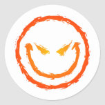 Cara sonriente malvada pegatinas redondas