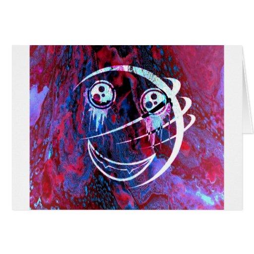 Cara sonriente multicolora tarjeton