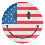 Cara sonriente patriótica de los E.E.U.U. Platos