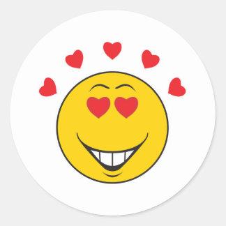 Cara sonriente pegada amor pegatinas redondas