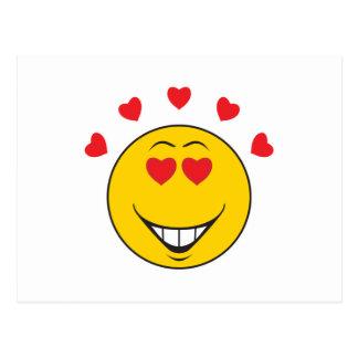 Cara sonriente pegada amor postal