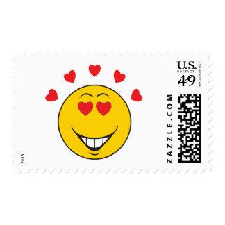 Cara sonriente pegada amor timbre postal