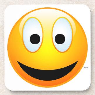 Cara sonriente posavasos de bebida