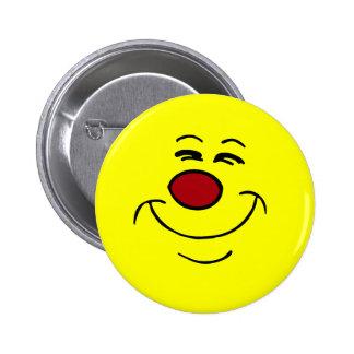 Cara sonriente presumida Grumpey Pin Redondo De 2 Pulgadas
