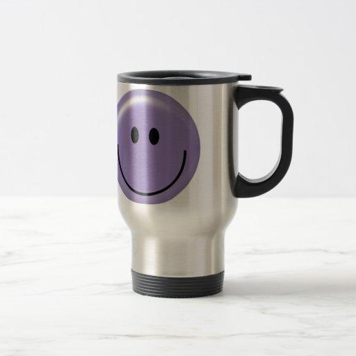 Cara sonriente púrpura feliz taza de viaje