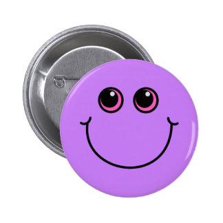 Cara sonriente púrpura pin redondo de 2 pulgadas