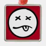 Cara sonriente retra divertida en fondo rojo ornamento para reyes magos