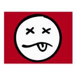 Cara sonriente retra divertida en fondo rojo tarjetas postales