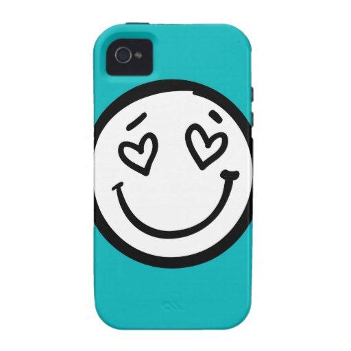 Cara sonriente retra en fondo del color del trullo Case-Mate iPhone 4 carcasas