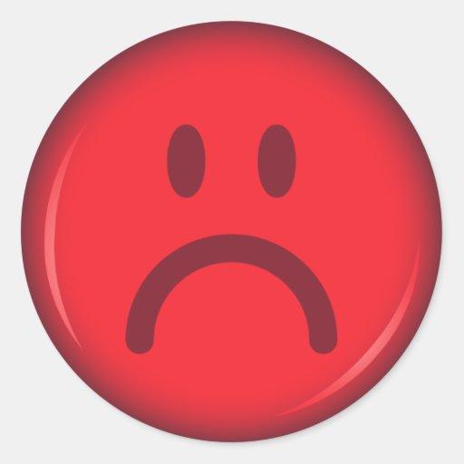 Cara sonriente roja enojada pouty infeliz etiquetas
