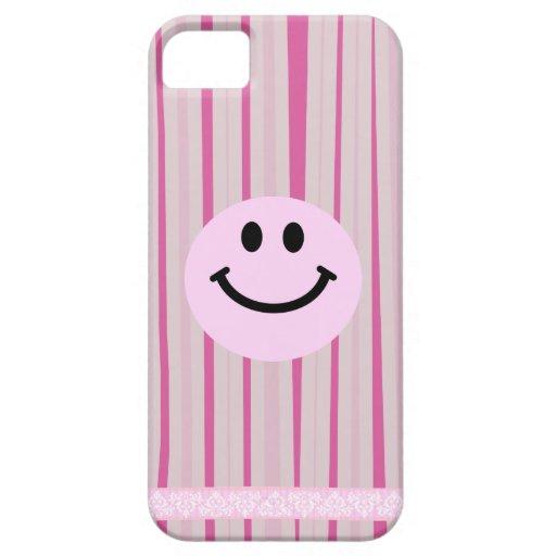 Cara sonriente rosada en rayas de las rosas funda para iPhone SE/5/5s