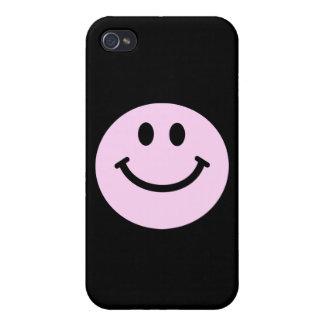 Cara sonriente rosada iPhone 4 cárcasas