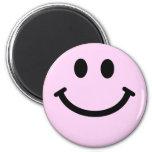 Cara sonriente rosada imanes para frigoríficos