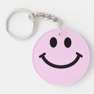 Cara sonriente rosada llavero