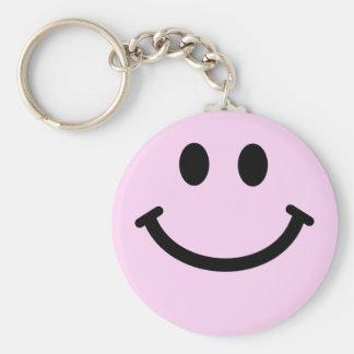 Cara sonriente rosada llavero personalizado