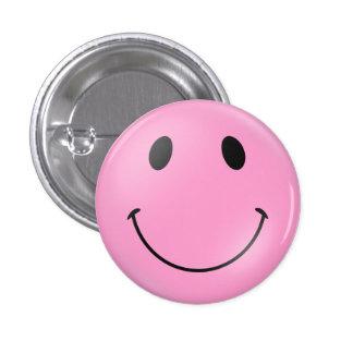 Cara sonriente rosada pin redondo de 1 pulgada