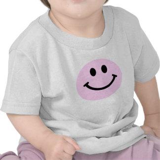 Cara sonriente rosada camiseta