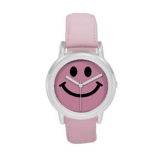 Cara sonriente rosada relojes de mano