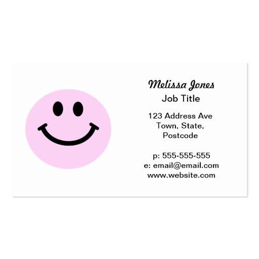 Cara sonriente rosada tarjeta de visita