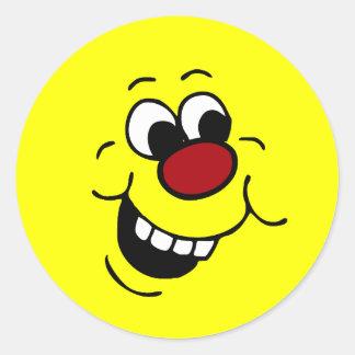 Cara sonriente sabia Grumpey Pegatina Redonda