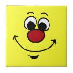 Cara sonriente sarcástica Grumpey Azulejo Ceramica