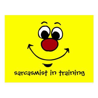Cara sonriente sarcástica Grumpey Postales