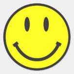 ¡Cara sonriente simple! Pegatina Redonda