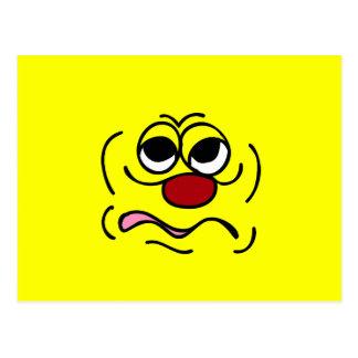 Cara sonriente soñolienta Grumpey Tarjeta Postal