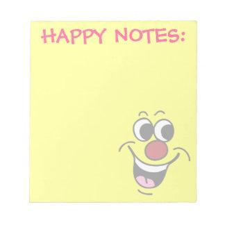 Cara sonriente sonriente Grumpey Blocs De Notas
