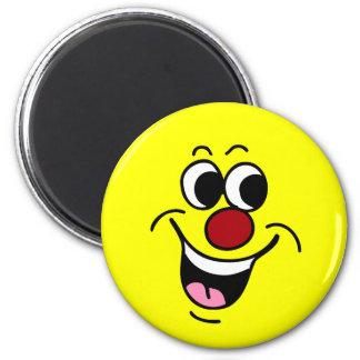 Cara sonriente sonriente Grumpey Imán Redondo 5 Cm
