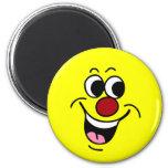 Cara sonriente sonriente Grumpey Imanes De Nevera