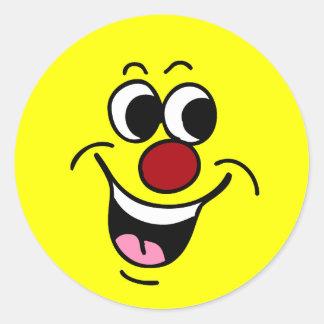 Cara sonriente sonriente Grumpey Pegatina Redonda
