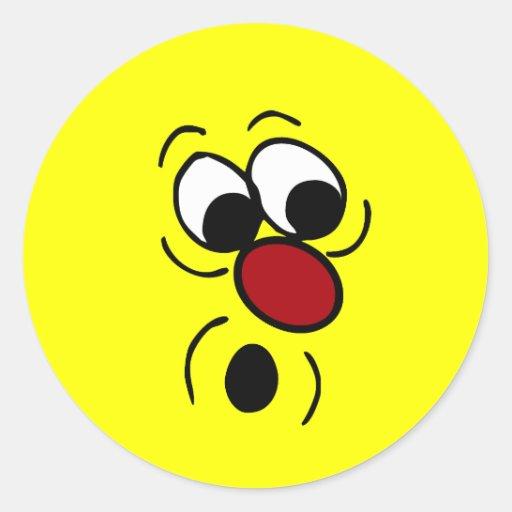 Cara sonriente sorprendida Grumpey Pegatinas Redondas
