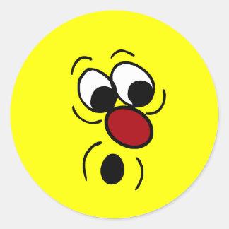Cara sonriente sorprendida Grumpey Pegatina Redonda