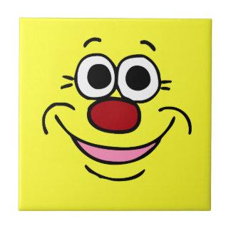 Cara sonriente tranquila Grumpey Azulejo Cuadrado Pequeño